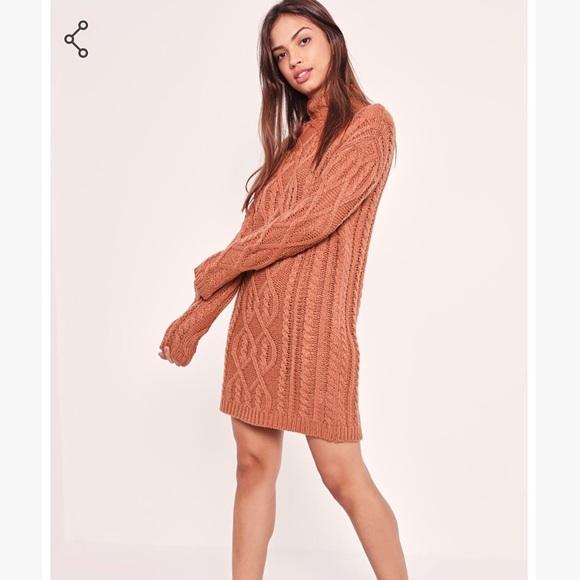 1e4fcd5b8a Chunky Oversized Cable Sweater Dress Pink. M 5b67a69a8158b596b05496a3
